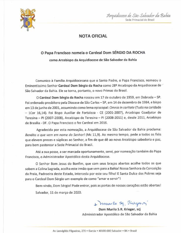 Arquidiocese publicou nota oficial | Foto: Reprodução | Arquidiocese de São Salvador