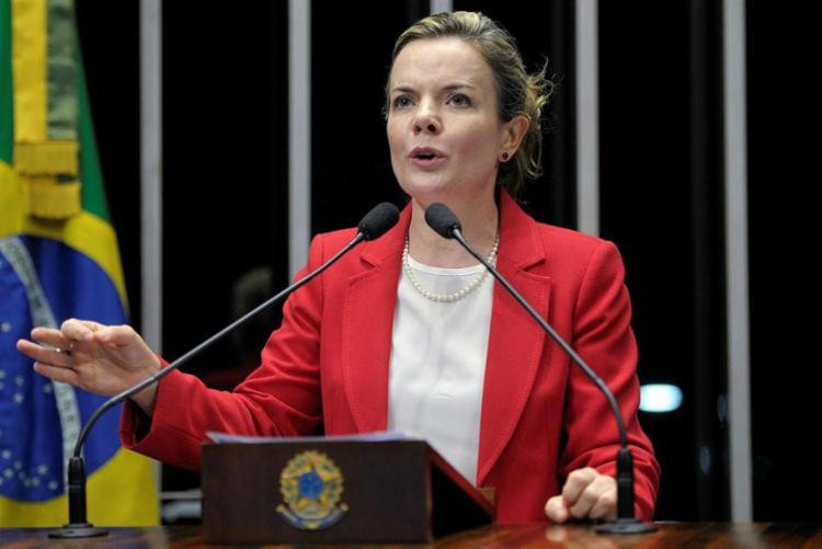 A presidente do PT, Gleisi Hoffmann, ratificou a posição da sigla em não fechar acordo com um nome apoiado por Bolsonaro - Foto: Jefferson Rudy   Agência Senado