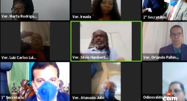 Os vereadores se reuniram durante conferência virtual - Foto: Reprodução | TV CÂMARA