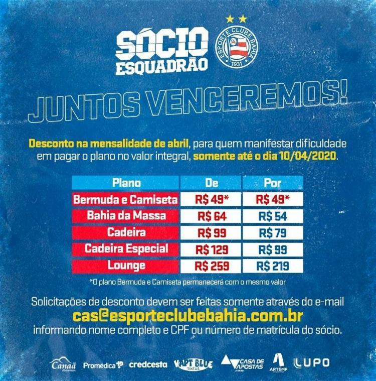 Descontos nas mensalidades dos planos de sócios oferecidos pelo clube | Foto:Divulgação | EC Bahia