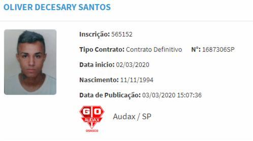 Livinho aparece com contrato definitivo junto ao clube paulista | Foto: Reprodução | CBF