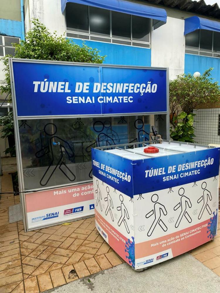 Túnel de desinfecção instalado no Hosp. Santo Antônio das Obras Sociais Irmã Dulce   Foto: Osid   Divulgação - Foto: Osid   Divulgação