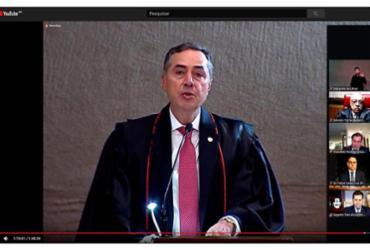 Em sessão cerimônia virtual, Barroso toma posse como presidente do TSE | Reprodução