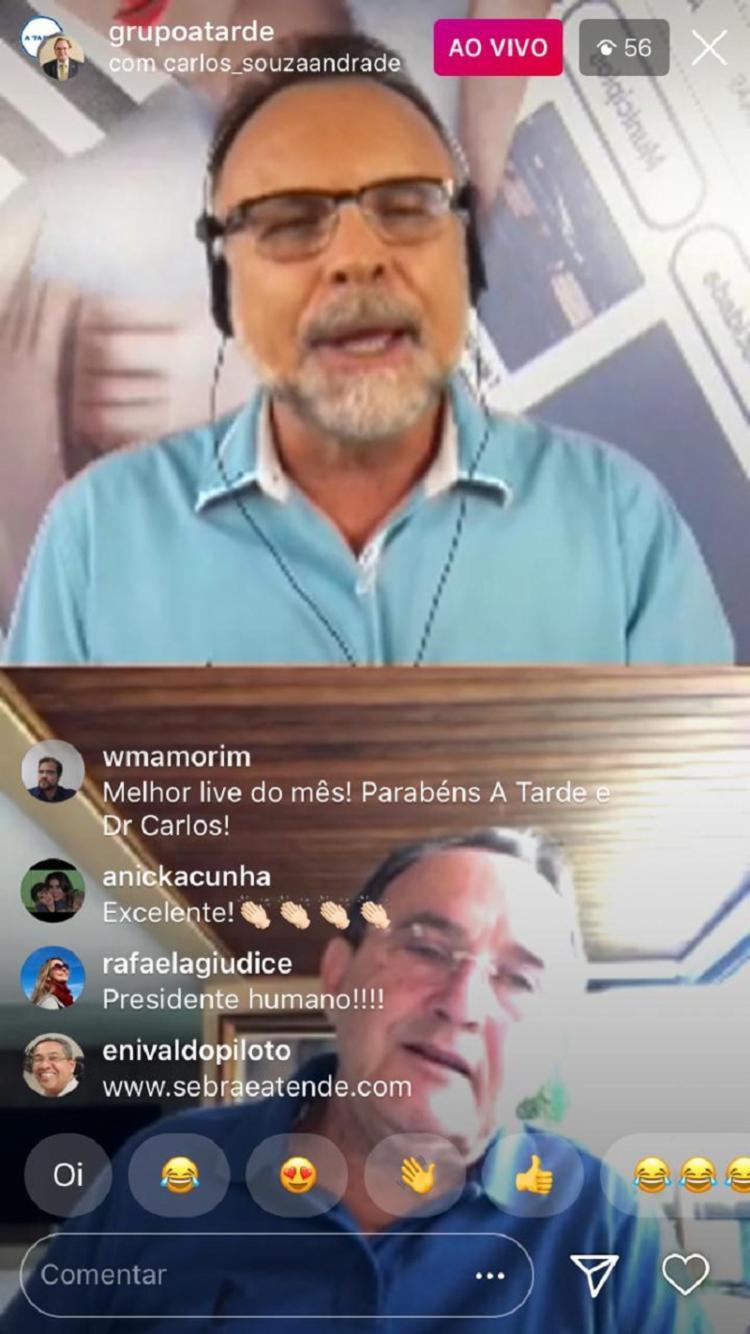 Presidente participou do A TARDE Conecta, projeto de lives do GRUPO A TARDE pelo Instagram   Foto: Reprodução   Instagram