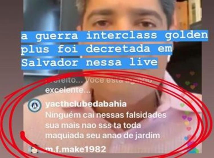 Perfil realizou ataques a prefeito ACM Neto durante live no Instagram - Foto: Reprodução | Redes Sociais