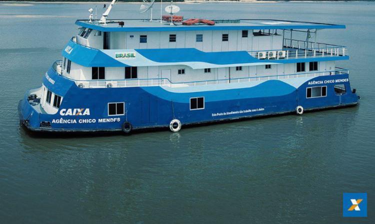 Até sexta-feira, 29, as duas agências-barco estarão nos municípios de Careiro da Várzea e Manaquiri, no Amazonas; Soure e Salvaterra, no Pará   Foto: Divulgação   Caixa - Foto: Divulgação   Caixa