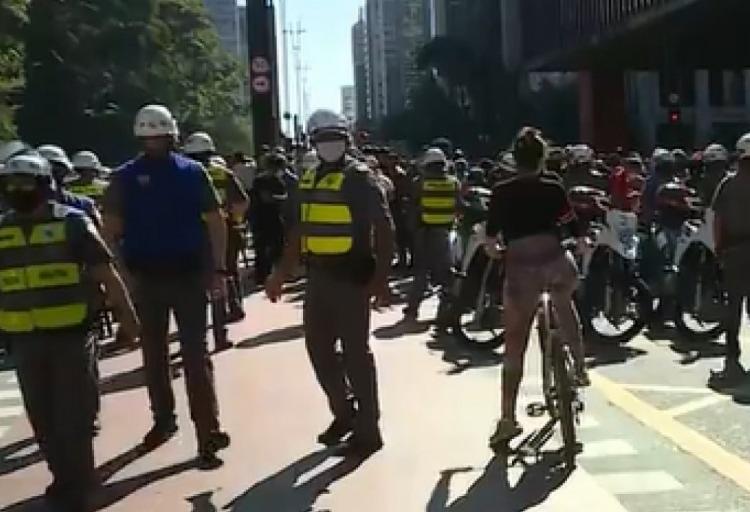Ato na avenida Paulista foi convocado por quatro torcidas organizadas de futebol | Foto: Reprodução | GloboNews - Foto: Reprodução | GloboNews