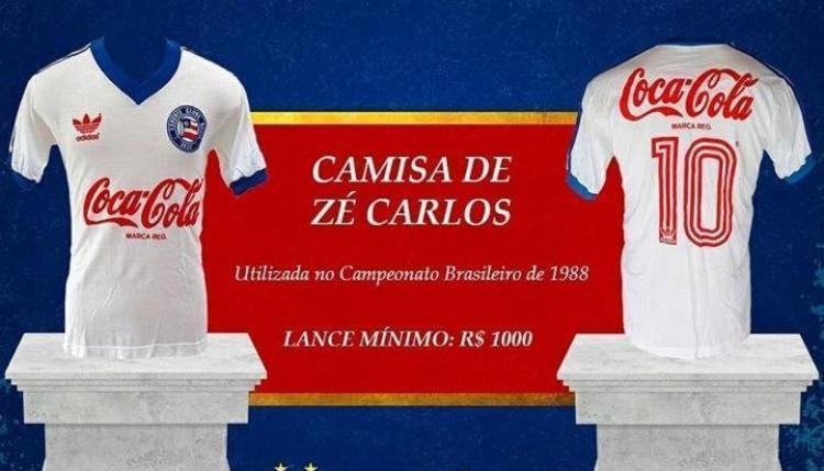 Camisa do atacante Zé Carlos da campanha de 88 faz parte do leilão   Foto: Reprodução   Redes sociais - Foto: Reprodução   Redes Sociais