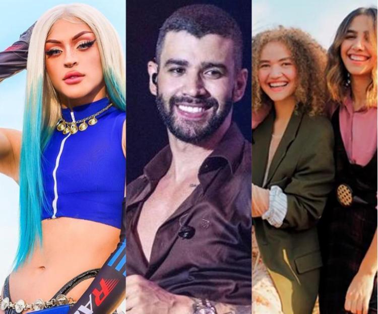 Os artistas Pabllo Vittar, Gusttavo Lima e a dupla Anavitória fazem lives nessa sexta-feira, 21 | Foto: Reprodução - Foto: Reprodução