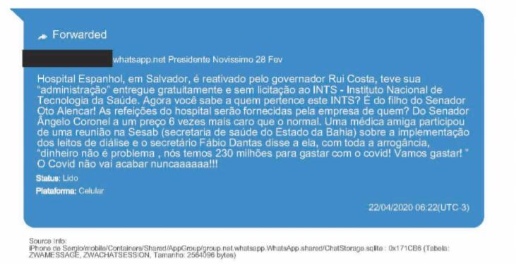 Notícia falsa foi enviada a Moro em 22 de abril