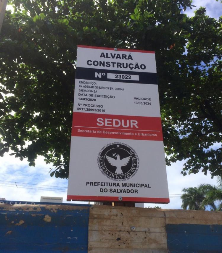 A obra fica na Avenida Adhemar de Barros, ligando a Garibaldi à orla atlântica - Foto: Foto | Cidadão Repórter via WhatsApp