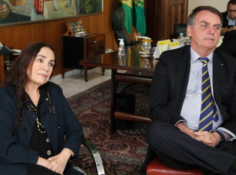 Regina Duarte se encontrou pela manhã com o presidente Jair Bolsonaro - Foto: Foto: Isac Nóbrega | PR | Agência Brasil