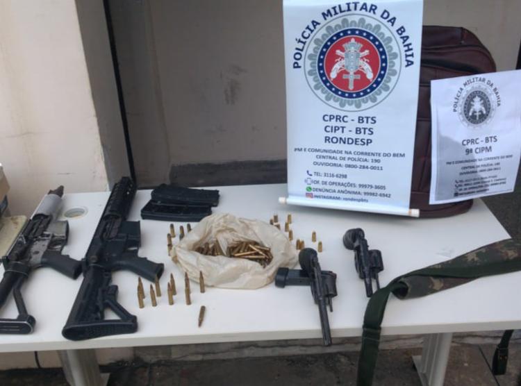 Material foi encontrado com suspeitos após troca de tiros | Foto: Divulgação | SSP - Foto: Divulgação | SSP