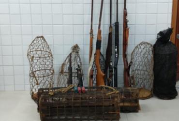 Ação ambiental apreende 27 animais silvestres e sete armas artesanais