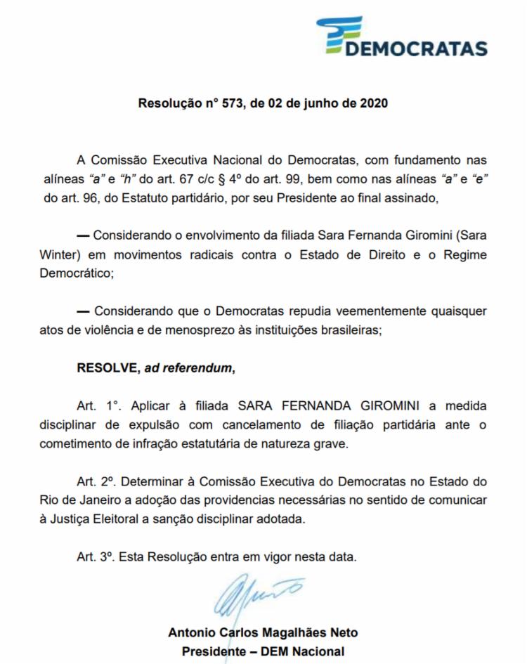 Resolução assinada por ACM Neto sela expulsão de Sara da sigla