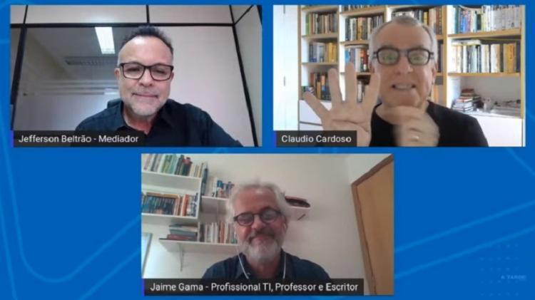 Debate foi mediado pelo jornalista Jefferson Beltrão   Foto: Reprodução   YouTube - Foto: Reprodução   YouTube