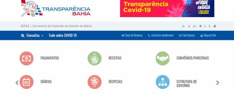 O portal do governo do estado, durante a Covid, foi aprovado pela ONG Transparência Internacional - Foto: Reprodução