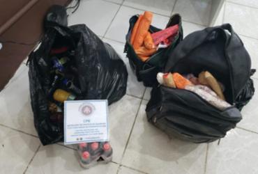 Polícia encontra esconderijo com 70 Kg de bebidas e alimentos para presos | Divulgação | SSP-BA