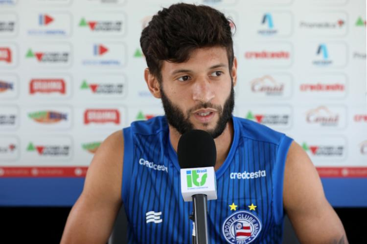 Juninho Capixaba ainda comentou sobre a disputa de posição com Zeca | Foto: Felipe Oliveira | EC Bahia - Foto: Felipe Oliveira | EC Bahia