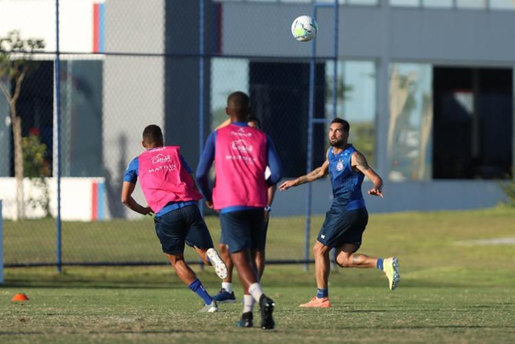 Recuperado de lesão, Gilberto treinou normalmente com todo o elenco | Foto: Felipe Oliveira | EC Bahia - Foto: Felipe Oliveira | EC Bahia