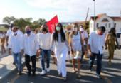 Olivia Santana inicia campanha à prefeitura com caminhada ao Bonfim | Foto: Divulgação