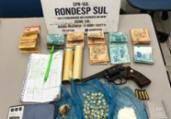Presos homens com drogas, armas e R$ 9 mil em Trancoso | Reprodução | Radar64