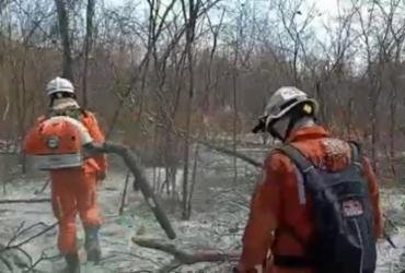 Bombeiro seguem no combate ao incêndio que atinge o município de Barra