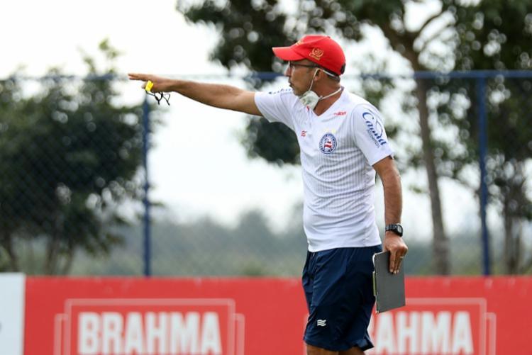 Prates chegou a esboçar a possível equipe titular que deverá começar o confronto contra o Tricolor gaúcho | Foto: Felipe Oliveira | EC Bahia - Foto: Felipe Oliveira | EC Bahia