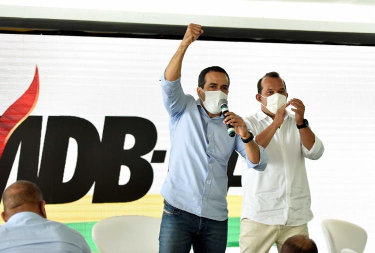 Bruno Reis e o presidente da Câmara, Geraldo Júnior, em convenção do MDB - Foto: Divulgação