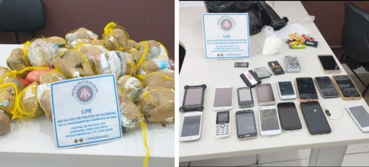 Foram encontrados 5 kg maconha, cerca de meio quilo de cocaína, 60 pacotes de fumo e 17 celulares | Foto: Divulgação | SSP - Foto: Divulgação | SSP