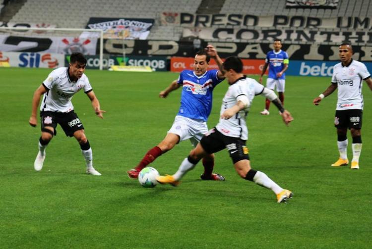 O meia Rodriguinho teve atuação apagada devido à forte marcação corinthiana | Foto: Vitor Tamar | EC Bahia - Foto: Vitor Tamar | EC Bahia