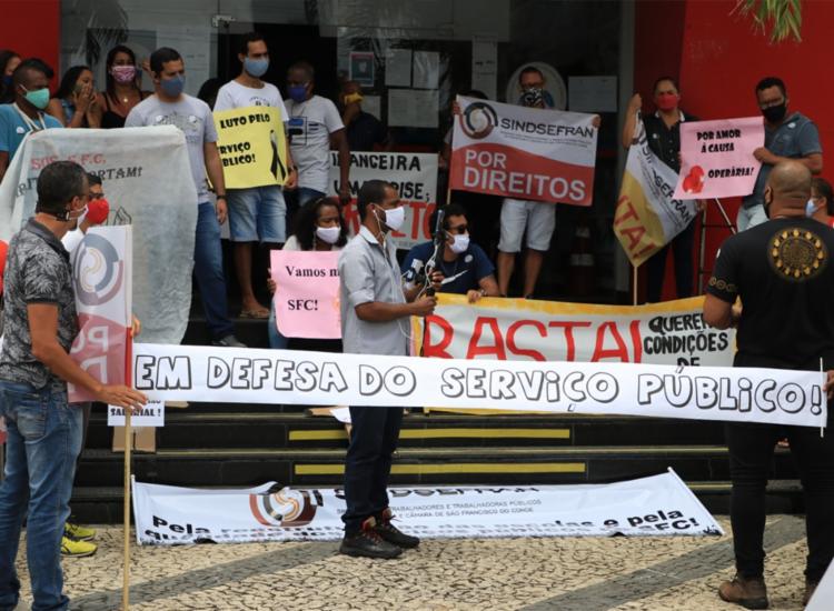 Servidores realizaram uma série de protestos em São Francisco do Conde | Foto: Divulgação | Sindsefran - Foto: Divulgação | Sindsefran