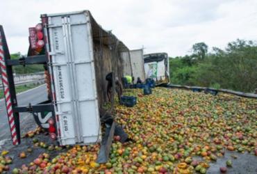 Passageiro de caminhão morre após carreta tombar em Santo Estêvão