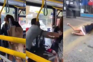 Sem máscara, mulher cospe em passageiro e é arremessada de ônibus | Reprodução | Redes Sociais