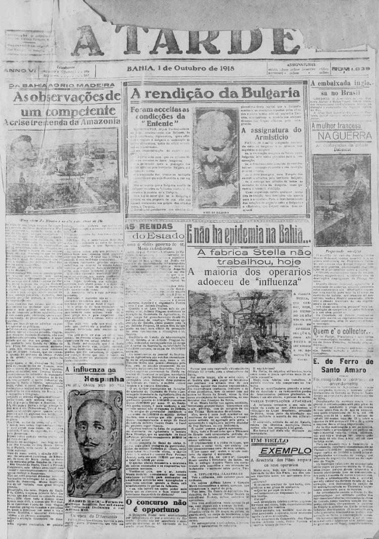 Capa do hoje centenário em outubro de 1918