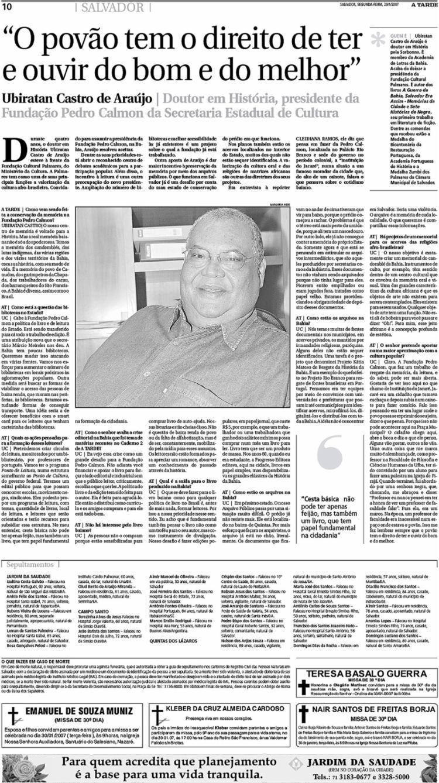 Prof. Ubiratan falou de Jacaré em entrevista
