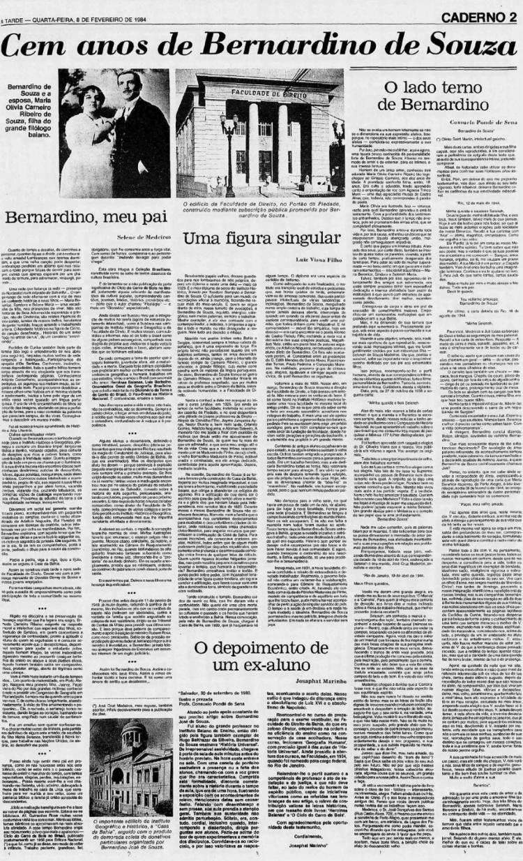 Edição de A TARDE em fevereiro de 1984