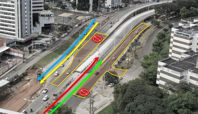 Entre 10 a 24 deste mês, os veículos com destino à Av. Tancredo Neves farão um leve desvio na pista principal   Foto: Secom   Divulgação - Foto: Secom   Divulgação