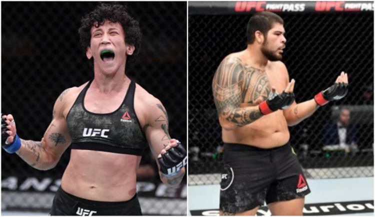 Virna Jandiroba (à esq.) e Carlos Felipe vêm de vitórias dentro do UFC | Foto: Divulgação | UFC Brasil - Foto: Divulgação | UFC Brasil