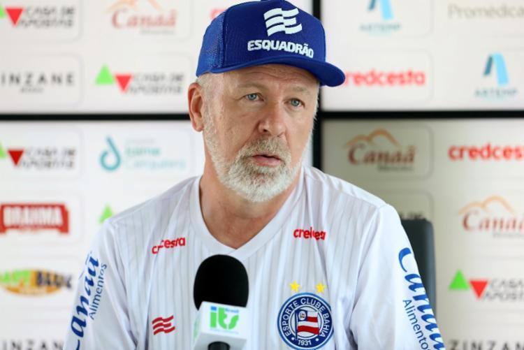 Segundo o treinador, o técnico não deve jamais ultrapassar o limite da educação   Foto: Felipe Oliveira   EC Bahia - Foto: Felipe Oliveira   EC Bahia