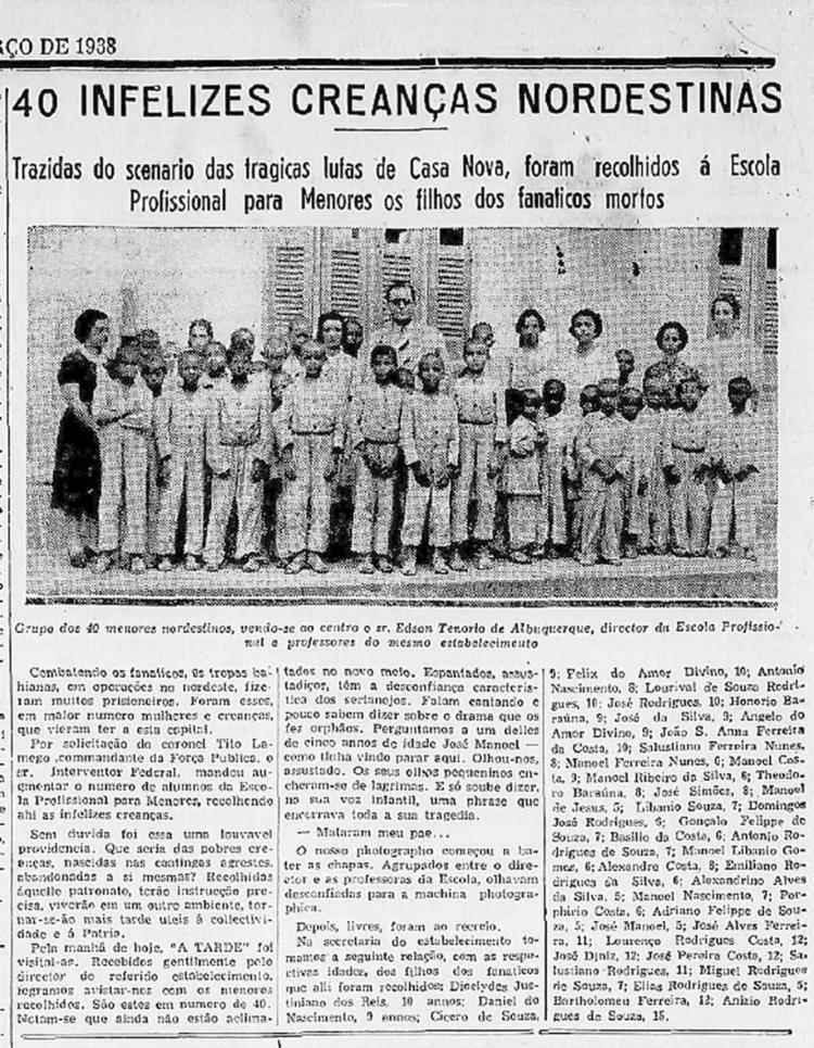 Edição de março de 1938 traz foto de 40 órfãos   Fotos: Arquivo A TARDE   Cedoc - Foto: Arquivo A TARDE   Cedoc