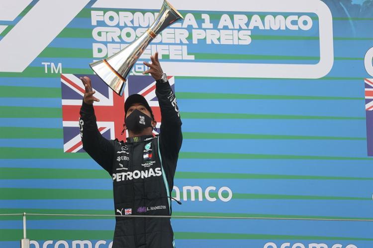 O hexacampeão mundial igualou o recorde de vitórias de Michael Schumacher na Fórmula 1 | Foto: WOLFGANG RATTAY | AFP - Foto: Foto: WOLFGANG RATTAY | AFP