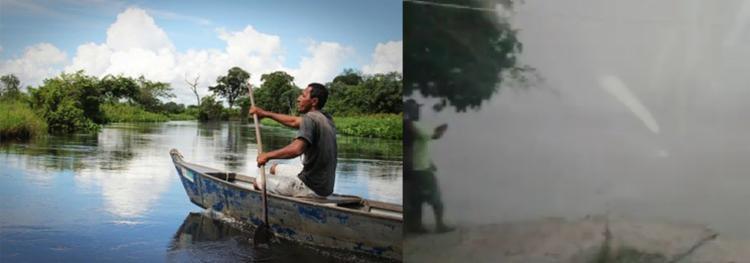Fotos mostram a diferença de visibilidade na comunidade ribeirinha antes e depois das queimadas   Foto: Divulgação   MPF - Foto: Divulgação   MPF