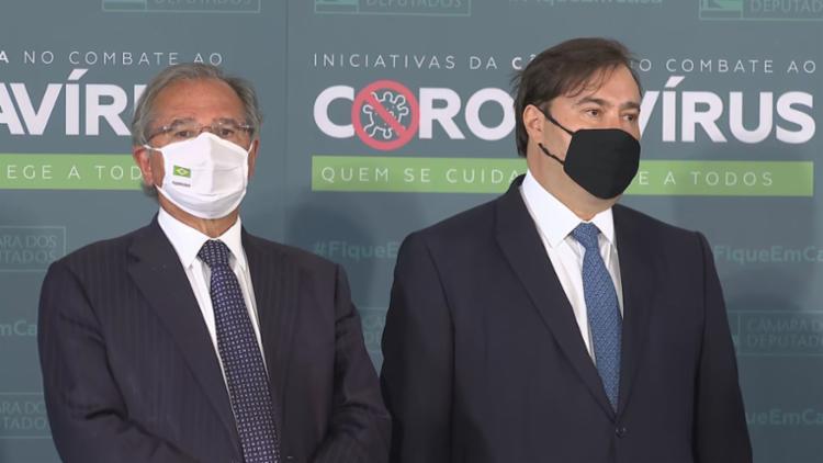 Paulo Guedes e Rodrigo Maia participaram de evento após jantar de