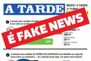 Falsa pesquisa sobre a eleição em Feira atribuída ao A TARDE circula nas redes sociais   Reprodução
