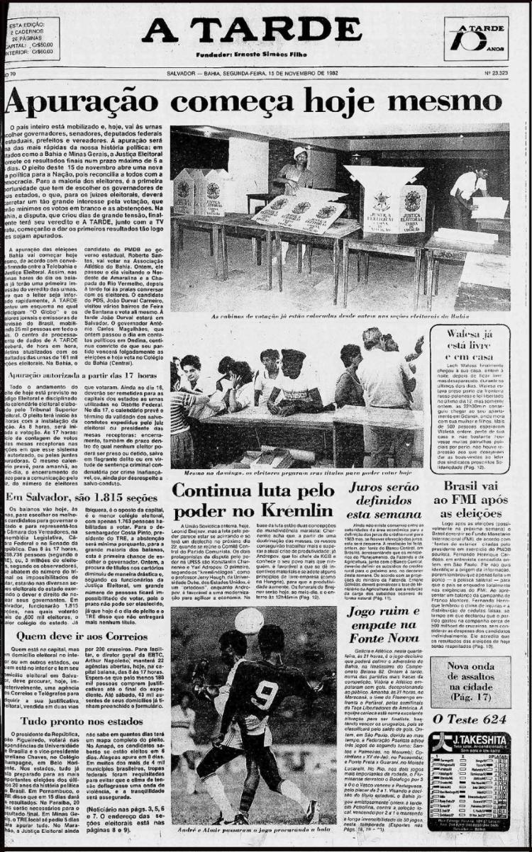 Edição de 15/11/1982 previa rápida apuração
