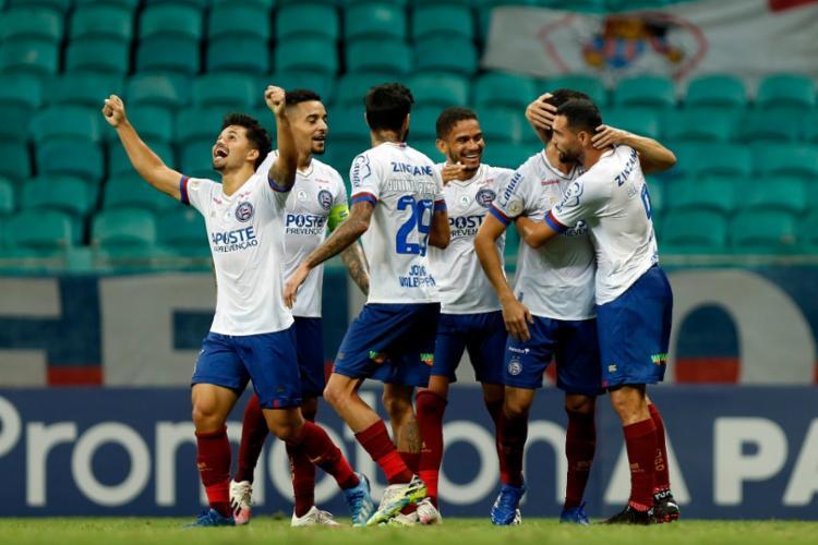 Com pênalti marcado com auxílio do VAR, o Tricolor venceu o Botafogo por 1 a 0, na Fonte Nov - Foto: Felipe Oliveira / EC Bahia