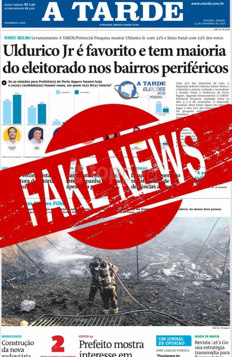 Imagem que circula do Jornal nos grupos de Whatsapp com a manchete ilustrada na imagem é falsa - Foto: A TARDE