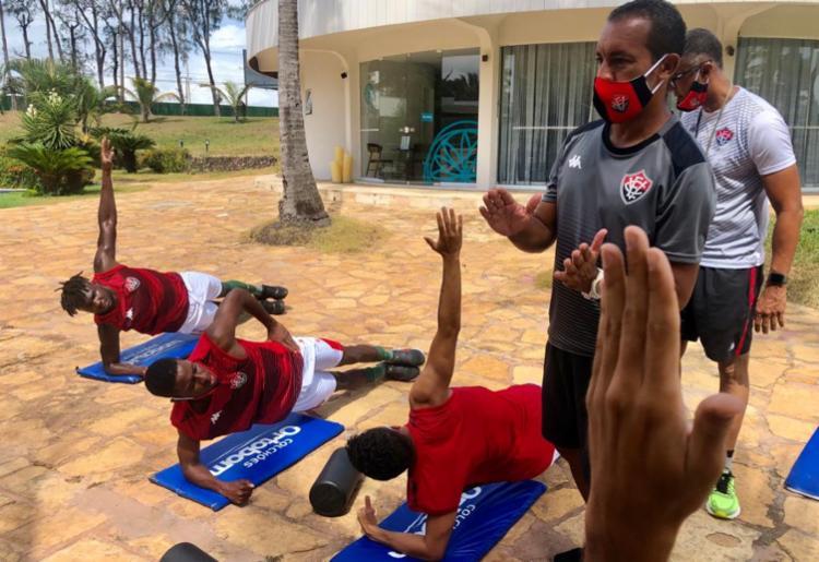 Os trabalhos consistira em um circuito de treinos físicos | Foto: Divulgação | EC Vitória - Foto: Divulgação | EC Vitória