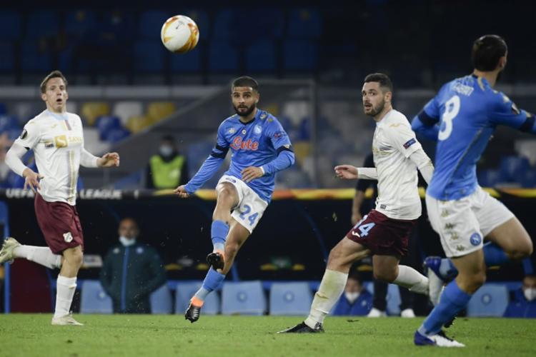 Com esta vitória, os napolitanos lideram seu grupo na Liga Europa com 9 pontos   Foto: Filippo Monteforte   AFP - Foto: Filippo Monteforte   AFP
